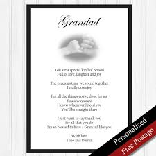 dels about grandad gift personalised gifts for grandfather birthday keepsake print only