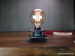 edison table lamp vintage home lighting. custom made minimalist table lamp bare edison bulb vintage home lighting