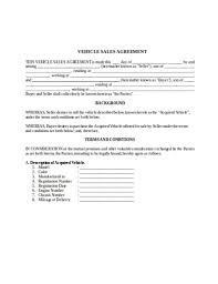 Automobile Sales Agreement 10 Vehicle Sale Agreement Templates Google Docs Pdf Doc