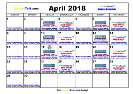 April 2018 Irs Wheres My Refund Updates Calendar