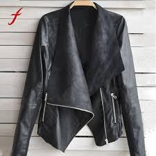 fashion vintage women biker motorcycle leather jacket coat female casual outwear coat top autumn winter slim long sleeves cloak biker leather jackets womens