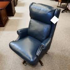 photo 2 of 6 used bradington young leather executive office chair navy che1538 001 navy leather