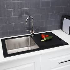 Image Kraus Aliexpress Details About Modern Stainless Steel Single Bowl Kitchen Sink 8mm Black Glass Surround Drainer