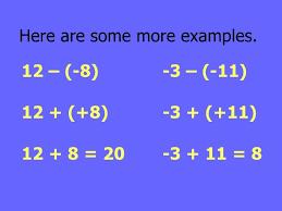 Integers Examples Adding Subtracting Integers