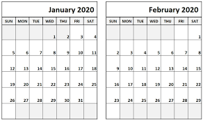 February 2020 Calendar Template Printable Blank Calendar January February 2020 February Calendar