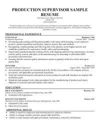 Free Production Supervisor Sample Resume Manager Free