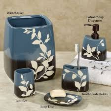 brown and blue bathroom accessories. dazzling passell blue bathroom accessories set with leaves motif brown and