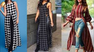 Kurta Designs To Wear With Jeans New Slit Kurta With Jeans Design For College Wear Stylish Printed Front Slit Kurta Design