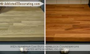 ikea butcher block with mineral oil finish before after