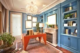 ... study room design with light blue bookshelf