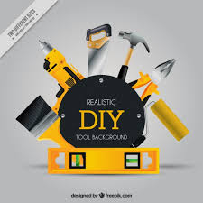 realistic background about craft tools free vector