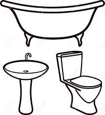 bathtub clipart black and white