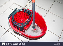 Kitchen Floor Mop Red Plastic Kitchen Floor Mop And Bucket Top View Stock Photo