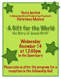 Christmas Program Sample Mbpc Preschool Christmas Program Mountain Brook Presbyterian Preschool
