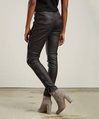 love this product black lace side faux leather skinny pants women