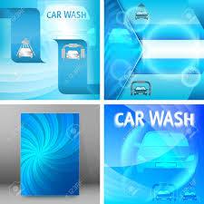 Free Car Wash Flyers Designs Set Car Wash Blue Light Background With Icons Design Elements