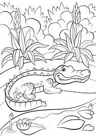 Kleurplaten Dieren Kleine Schattige Alligator Zit In De Buurt Van