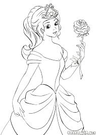 Disegni Da Colorare Principessa Tiene Una Rosa Con Disegni Da