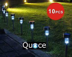 Quace Solar Lights Quace Set Of 10 Garden Solar Lights For Pathway Ambient Lighting Black
