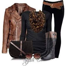 stylish leather jacket and animal print scarf absolutely on trend fall outfit