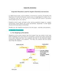 class xii chemistry important reactions used for organic chemistry conversions in cbse board exam