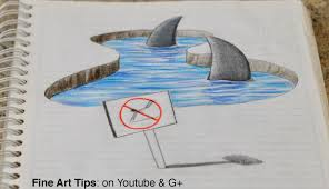 drawing 3d sharks on my notebook 3d anamorphic drawing time lapse you