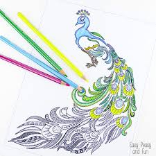 Small Picture Peacock Coloring Page for Adults Easy Peasy and Fun