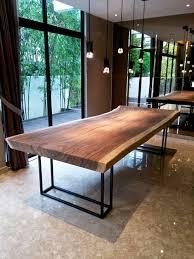 3 meter suar table with black powder coated steel frame legs