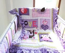 purple baby crib bedding sets baby bedding set purple embroidery elephant owl baby crib bedding set