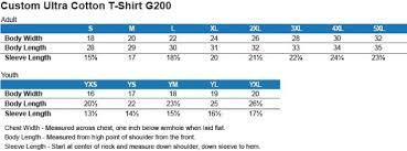 Gildan Tee Shirt Size Chart Size Chart Swampfox