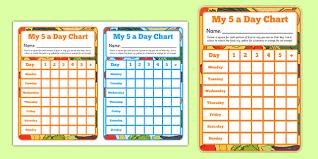 5 Day Reward Chart 5 A Day Sticker Reward Chart Healthy Eating Healthy Food
