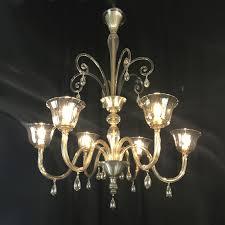 deco venetian murano glass six arm chandelier 1920 circa