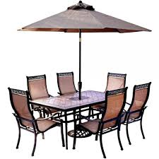 hanover 7 piece outdoor dining set with rectangular tile top table throughout patio table set with umbrella