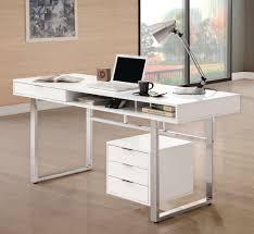 coaster 800897 writing desk in glossy white finish