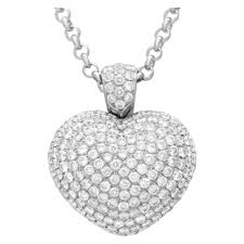 pascuale bruni puffed pave diamond heart pendant 3 25cts in 18k white gold