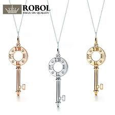 robobl tiff 100 925 sterling silver new hollow key pendant necklace watch 18k yellow gold