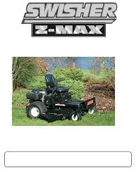 swisher zt2460 z max zero turn riding mower owner s manual