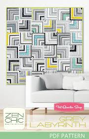 Labyrinth Quilt Pattern Free Extraordinary Grey Labyrinth Downloadable PDF Quilt Pattern Zen Chic Fat Quarter