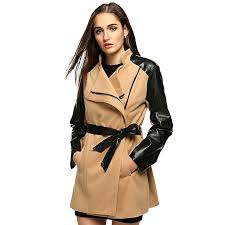 zeagoo women fashion lapel long sleeve synthetic leather patchwork wool blend trench coat outerwear khaki