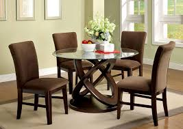 unique round pedestal table for modern kitchen table set feat microfiber dining chairs