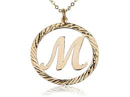 initial letter in circle 18k solid yellow gold pendant