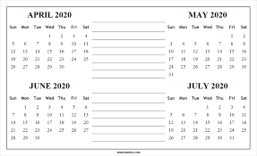 June July 2020 Calendar April To July 2020 Calendar Free Printable 4 Months 2020