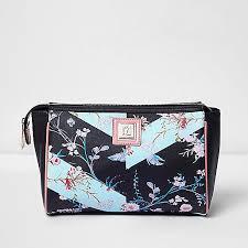 womens black fl print make up wash bag no 4559