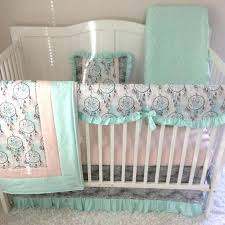 baby girl crib bedding set tan peach c blue skull triangles with lace made to order deer skulls and