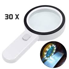 Details About Magnifying Glass With Light 30x Illuminated Large Magnifier Handheld 12 Led