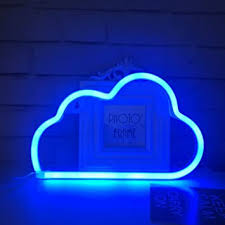 QiaoFei Cute Blue <b>Neon</b> Light, LED <b>Cloud</b> Sign <b>Shaped</b> Decor Light ...