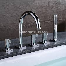 bathtub sink round style gooseneck water faucet shower deck mount bath tub mixer tap with pull out handheld shower spray