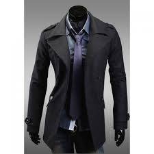 korean style turndown collar double ted solid color long sleeves woolen trench coat for men