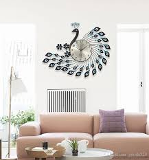 Peacock Wrought Iron Wall Clock With Diamonds Living Room Decoration Bedroom  Wall Clock Peacock Mute Wall Clock Clocks Kitchen Clocks Kitchen Wall From  ...