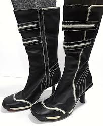 skechers black white leather boots womens 8 38eu knee high heels sn 35622 f 60 for